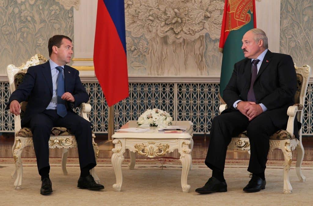 Dmitry Medvedev und Aleksandr Lukashenko